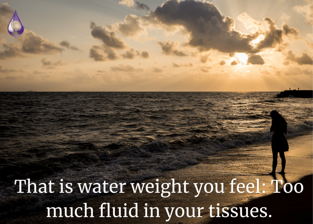 That is water weight you feel: Too much fluid in your tissues.