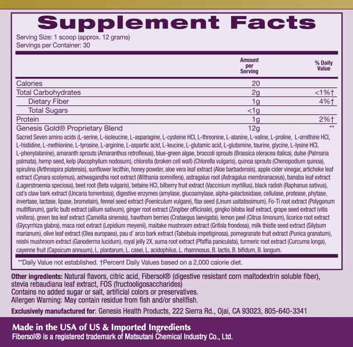 Genesis Gold Supplement Facts label