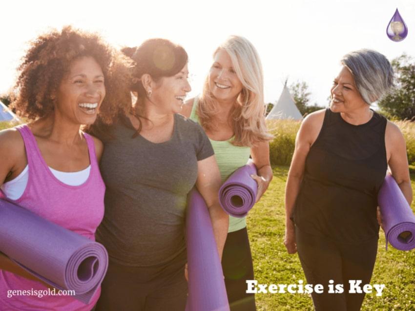 group of older women exercising