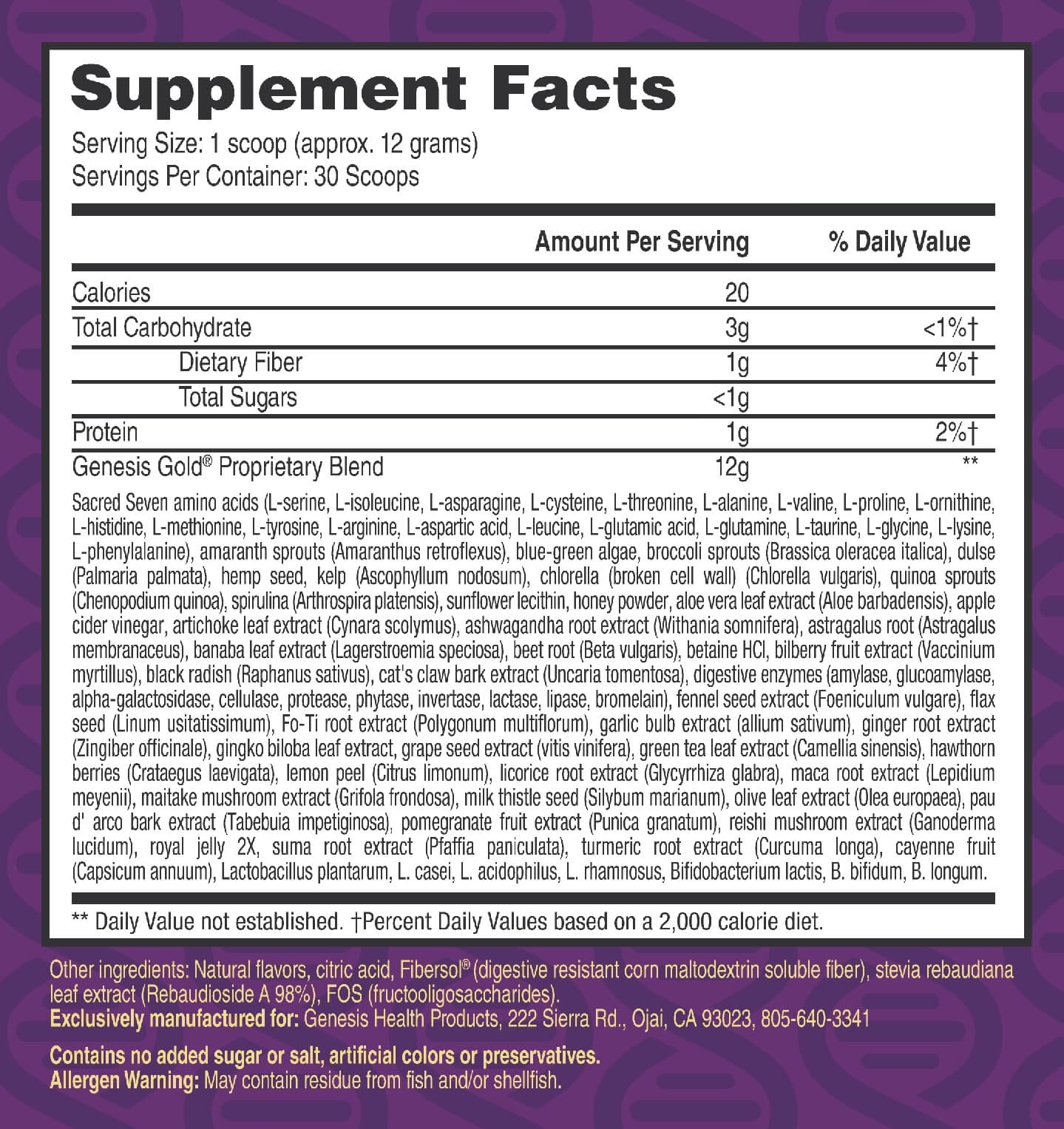Genesis Gold SupplementFacts